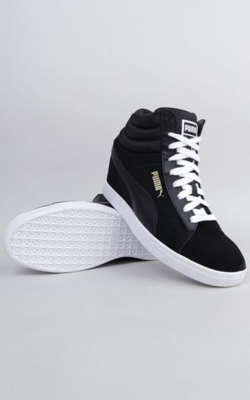 7986ce9ce0c4 Puma Classic Wedge Shoes - Sleek and versatile black suede wedges sneakers  modeled after the classic PUMA Suede silhouette