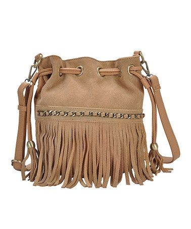 Nude Fringe Bucket Bag