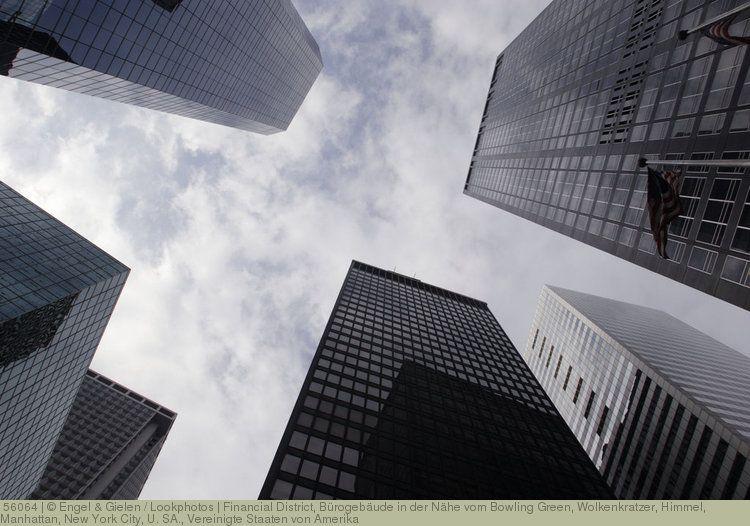 Financial District, Bürogebäude in der Nähe vom Bowling Green, Wolkenkratzer, Himmel, Manhattan, New York City, U.S.A., Vereinigte Staaten von Amerika