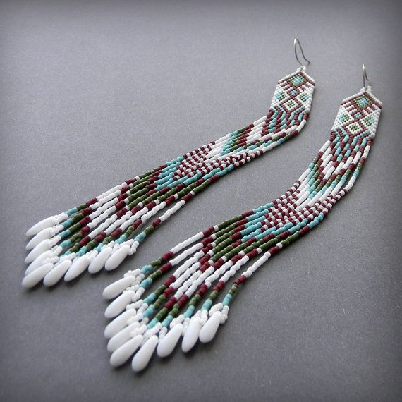 "Extra long seed bead earrings ""Awakening"""