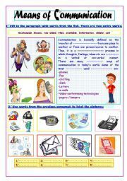 Here you can find worksheets and activities for teaching Means of communication to kids teenagers or adults beginner intermediate or advanced levels