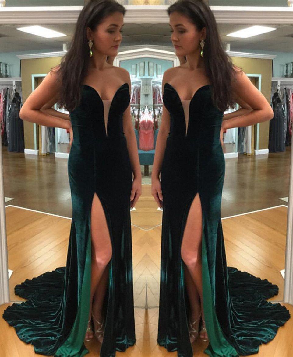 Velvet sweetheart mermaid prom dresses long slit evening gowns