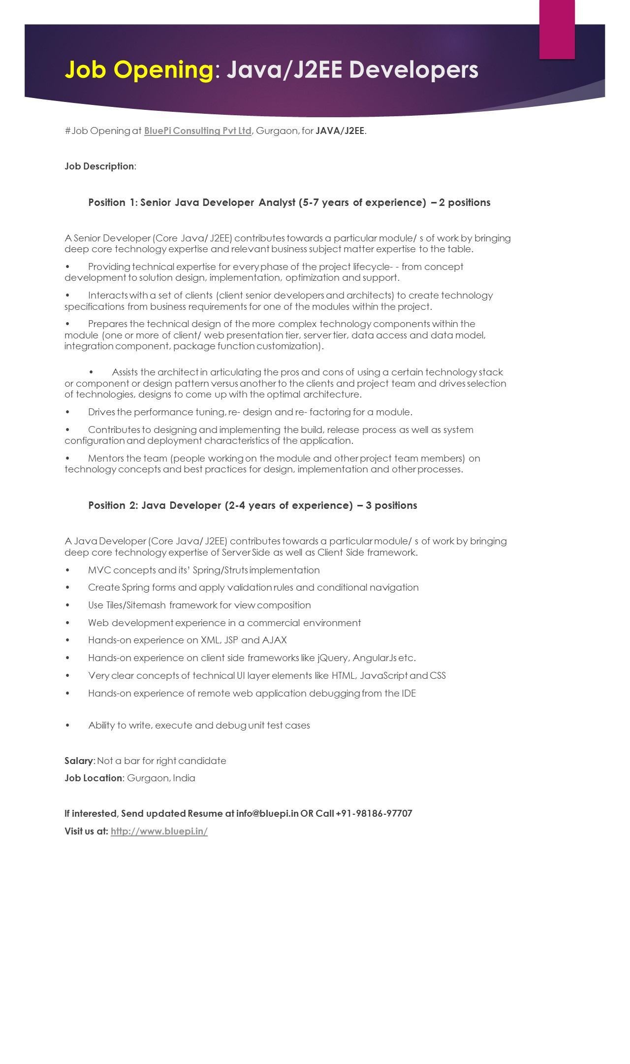 Required #Java Developer: 2 to 7 Years. Send updated Resume at info ...