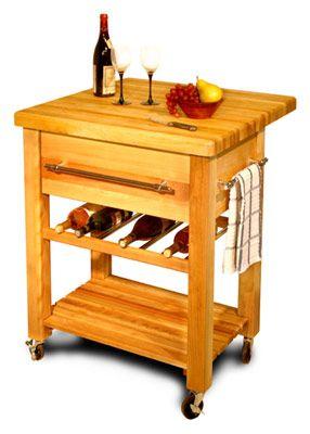 Rolling Butcher Block With Wine Rack Moveis Cozinha Mesa