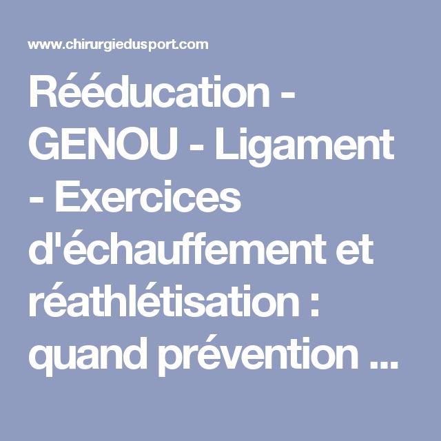 Reeducation Genou Ligament Exercices D Echauffement Et Reathletisation Quand Prevention Et Performance Ne Font Qu Un Reeducation Genou Genoux Exercice