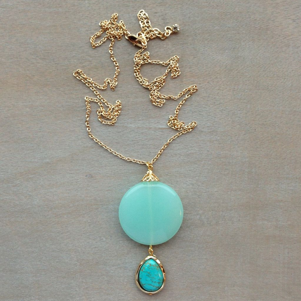 Pree Brulee - Aqua Chalcedony Pendant Necklace