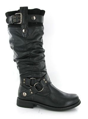 Womens Soft Sock Top Tall Black Fashion Mid Calf Biker Boots Size 3 9 UK    eBay 997368d842