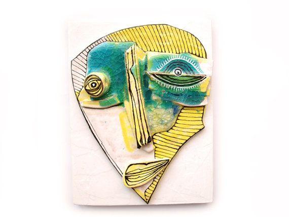 Weird Mask, Wall mask, Yellow sculpture, Wall 3d sculpture, Abstract ...