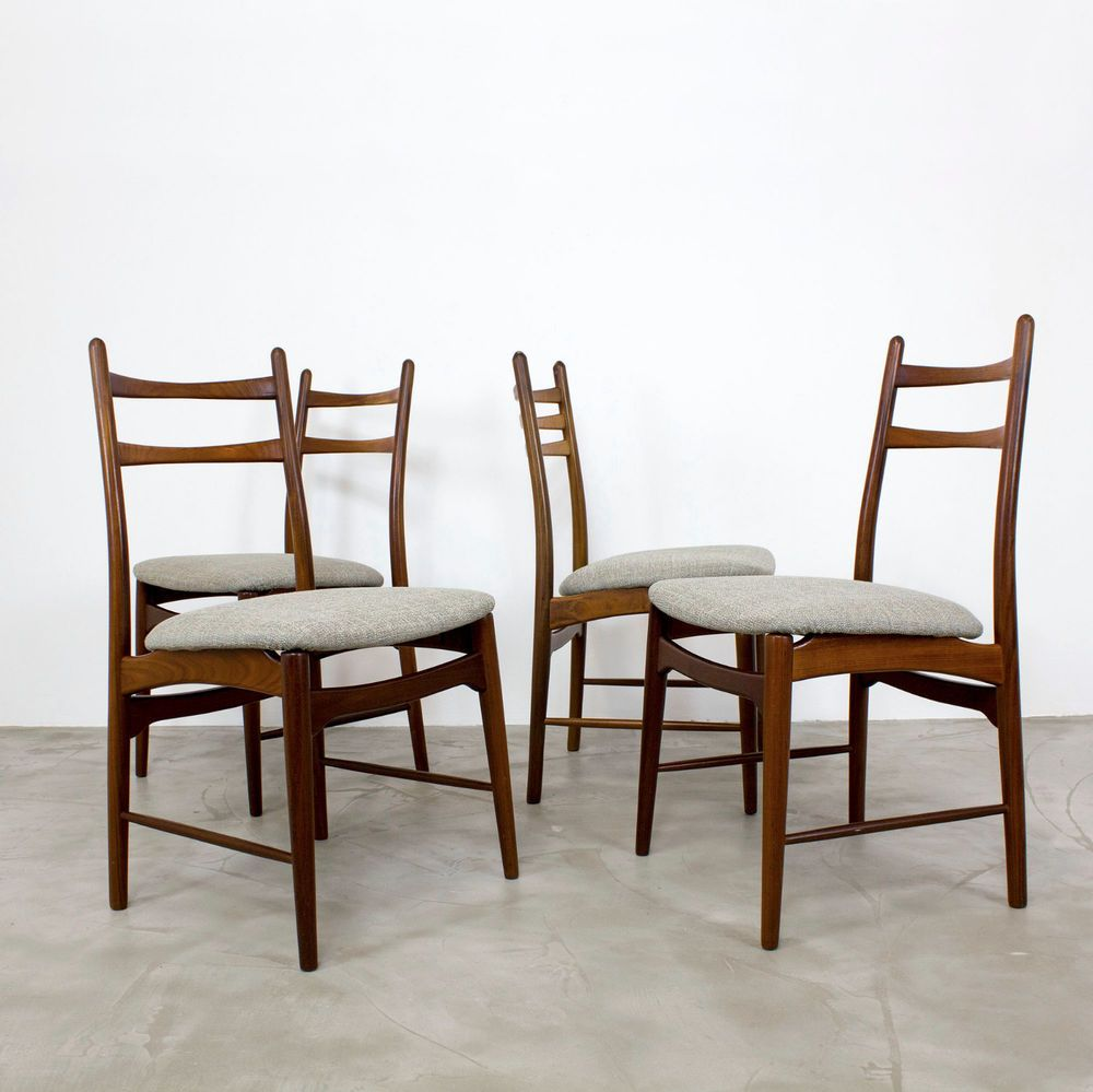 Teakholz Stühle 4 Mid Century Modern Dining Chairs 60s New Fabric Danish Teak