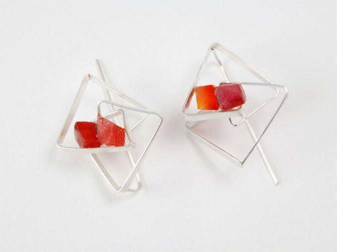 "CONTEXT Galeria - Oscar Abba - arracades/pendientes/earrings ""Crystals 1 orange"""