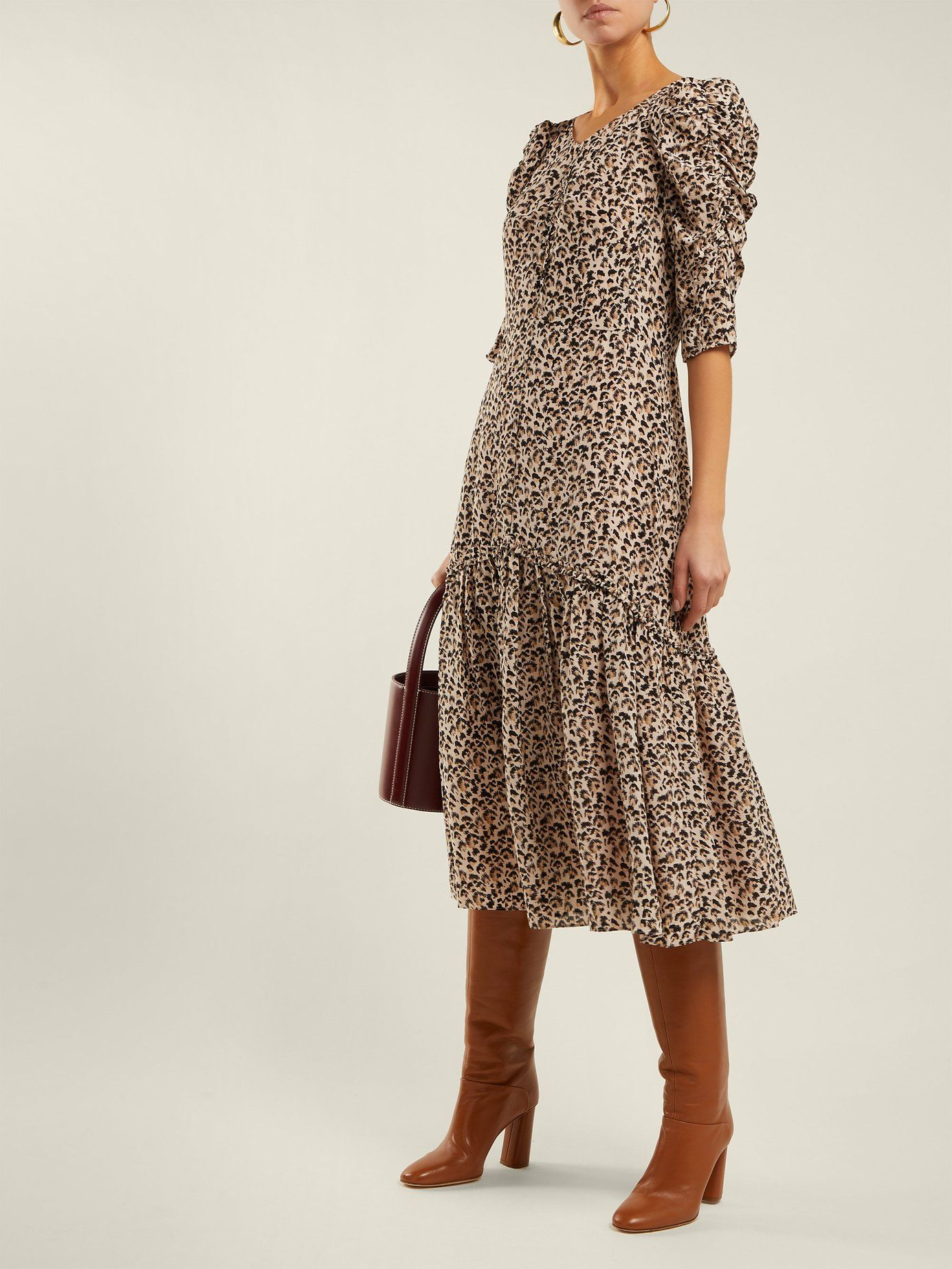 c11b8adde9 Leopard-print ruched silk dress | Rebecca Taylor | MATCHESFASHION.COM