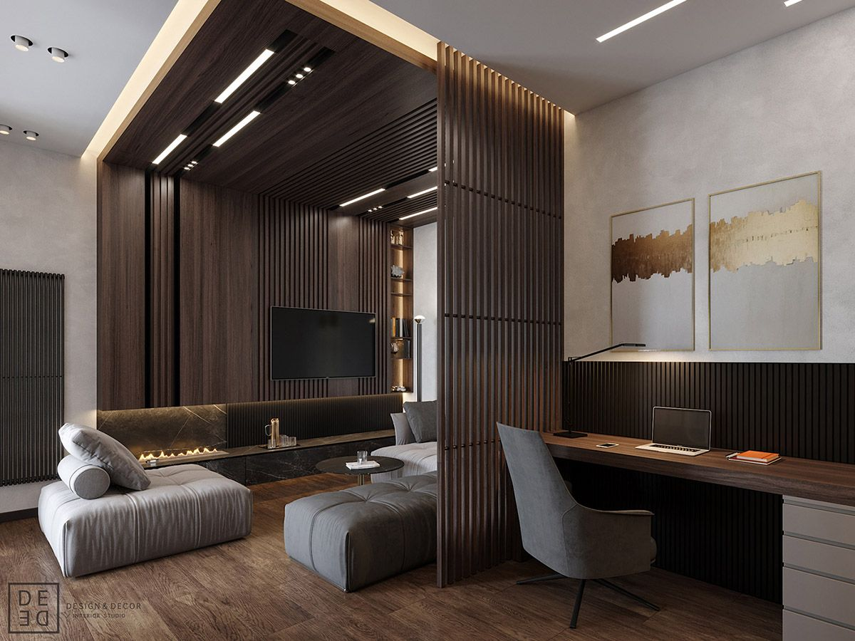 Luxurious Interior With Wood Slat Walls Living room
