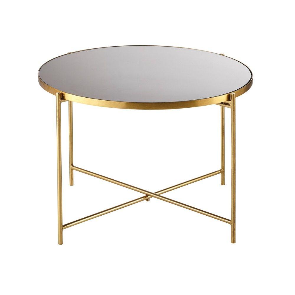 Gold Metal And Smoked Glass End Table Maisons Du Monde Beistelltisch Couchtisch Modern Couchtisch Schwarz