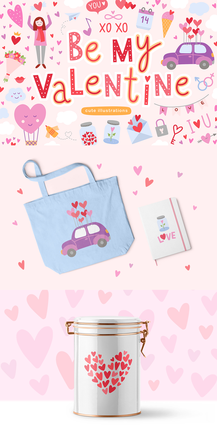 Happy Saint Valentine S Day Meet Cute Romantic Illustrations For Your Lovely Design Valentines Design Be My Valentine Valentine