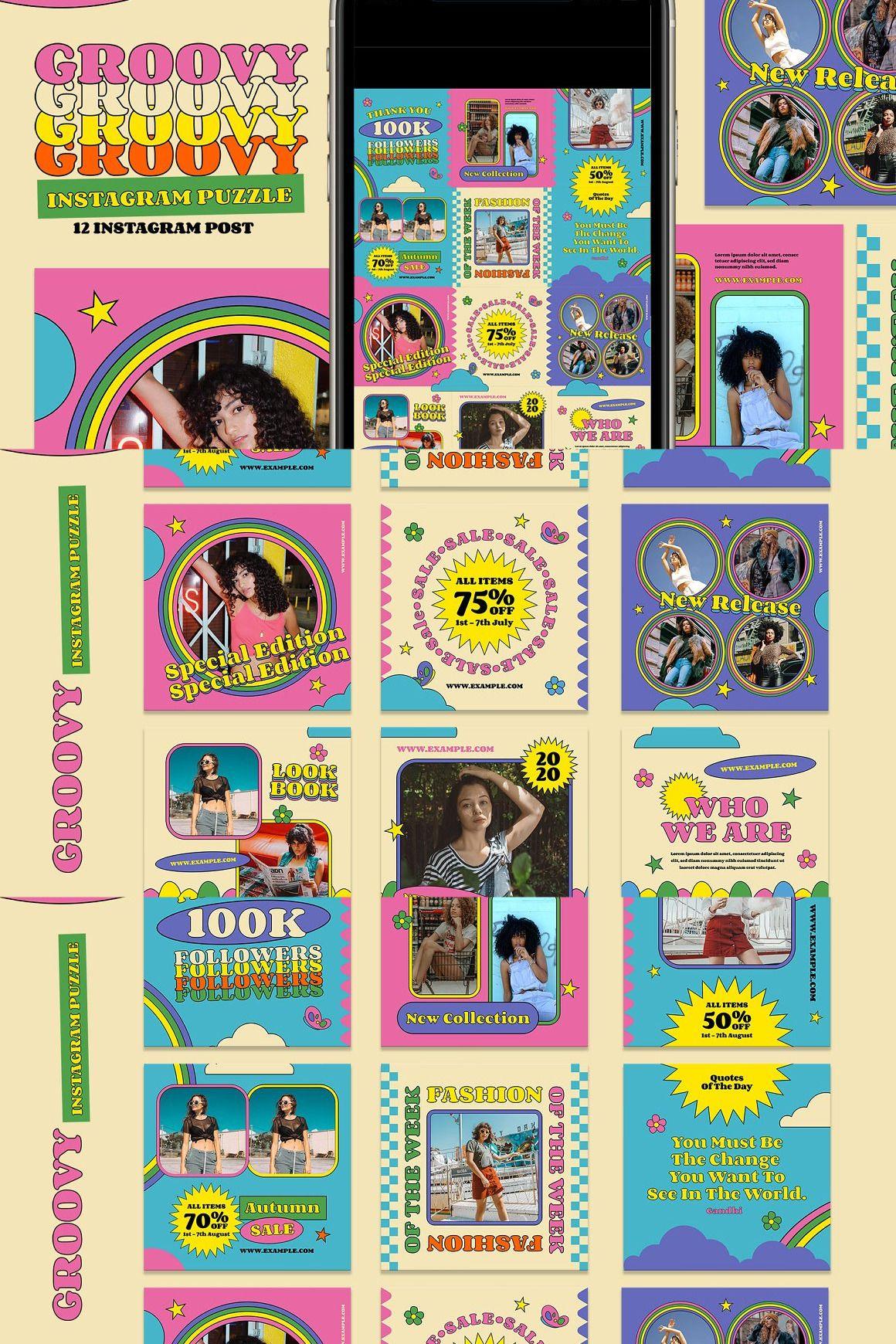Groovy Instagram Puzzle Graphic design brochure