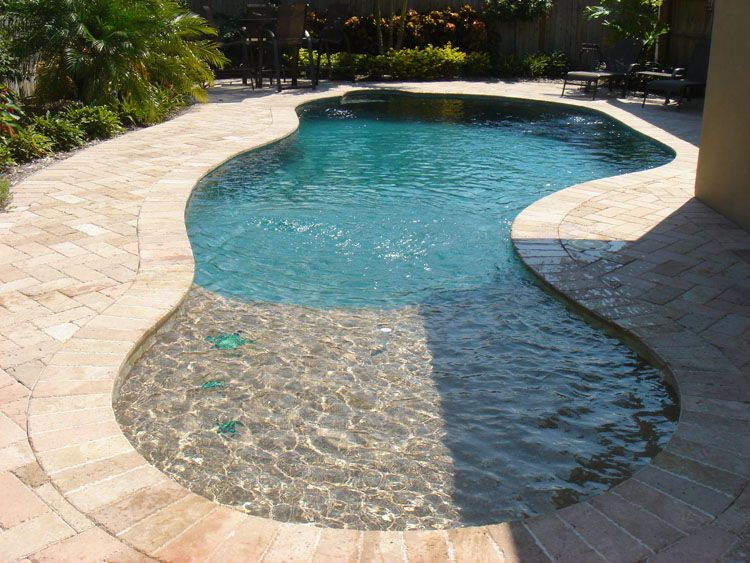 Love The Baja Shelf Small Inground Pool Pools For Small Yards Small Pool Design