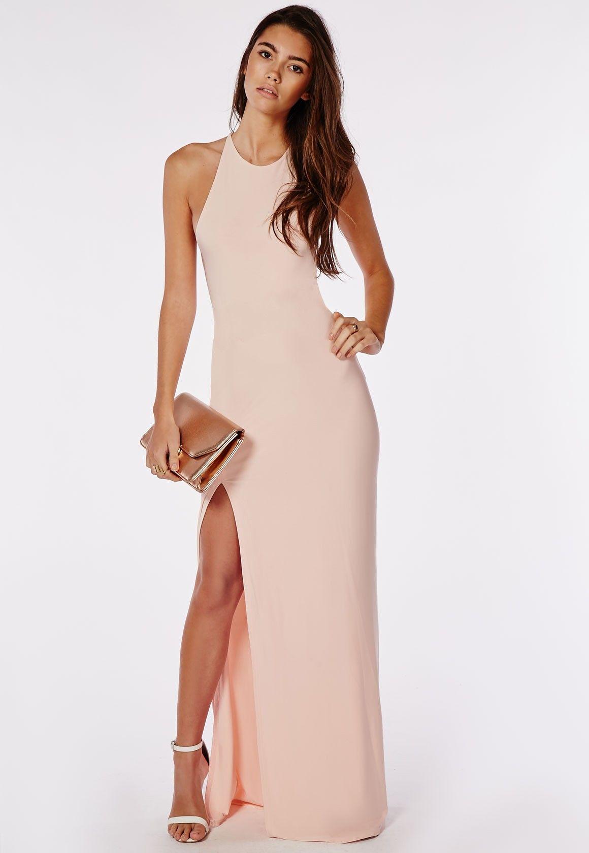 Slinky Side Split Maxi Dress Nude - Dresses - Maxi Dresses - Missguided d0d843984c76