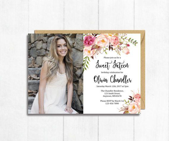 Boho Sweet Sixteen Photo Printable Birthday Invite, Boho Sweet Sixteen 16 Birthday Invitation, Floral 16th Birthday Invitate Download 308-W #sweetsixteen