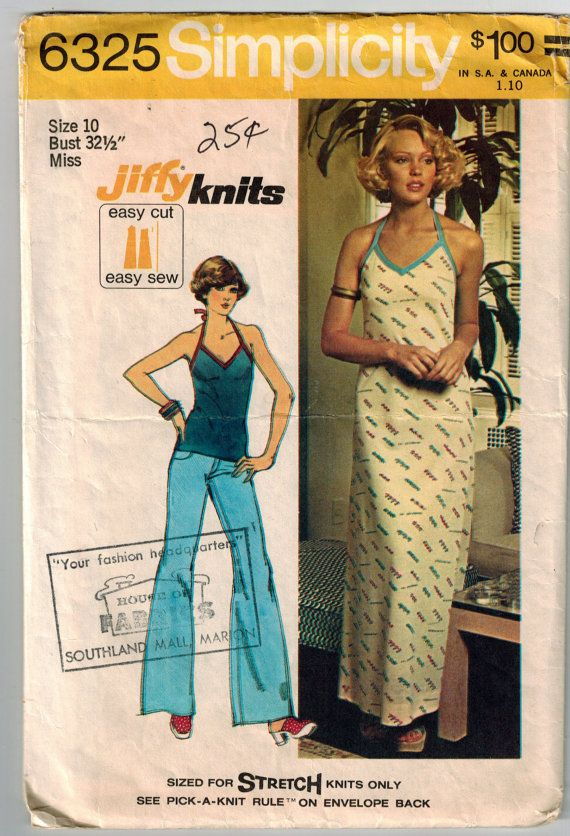 67951588a21 Vintage 70 s Halter Dress or Halter Top Retro Sewing Pattern in Two Sizes  Bust 32.5 and 38 Shaped Fr