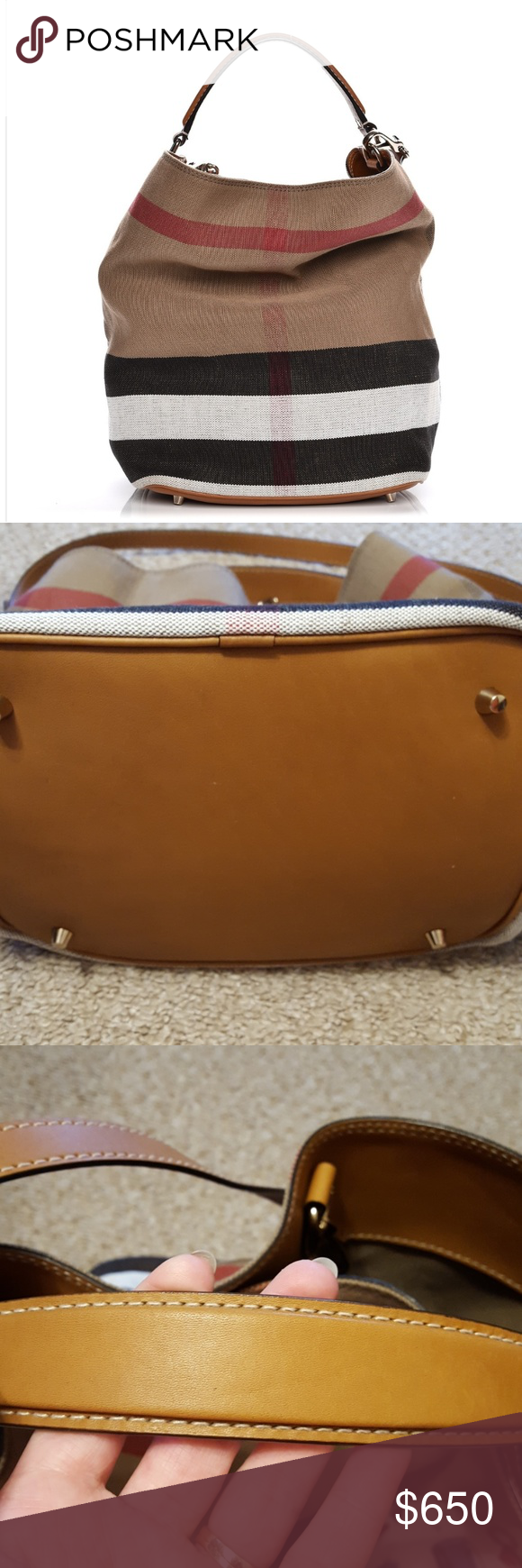 b4165f7983a Authentic Ashby in Canvas check Burberry hobo Authentic comes with Auth  Cert. The Ashby in Canvas check and leather with detachable purse pocket.