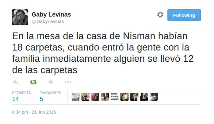 """Silvina Márquez on Twitter: """"Tweet de @GabyLevinas minutos antes de que le suspendieran la cuenta. Pero creo que el motivo fue otro. http://t.co/cv5loQxWIO"""""""
