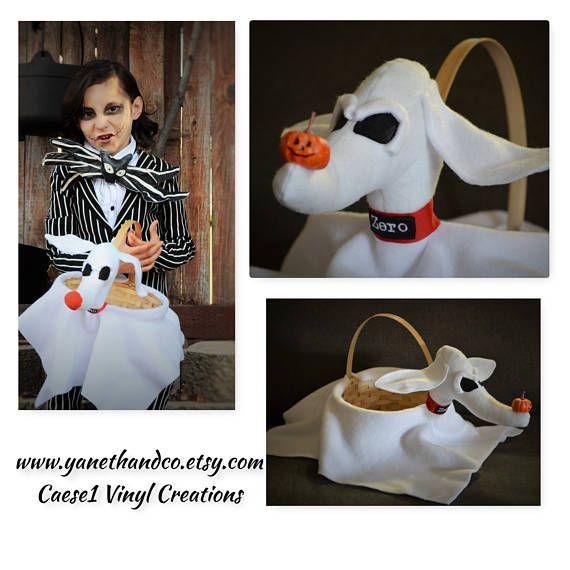 Zero Ghost Dog Halloween Basket Zero Dog Costume Prop Flower Girl