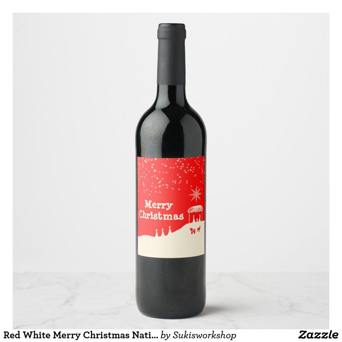 Red White Merry Christmas Nativity Scene Wine Label Zazzle Com In 2020 Christmas Nativity Scene Merry Christmas Christmas Nativity