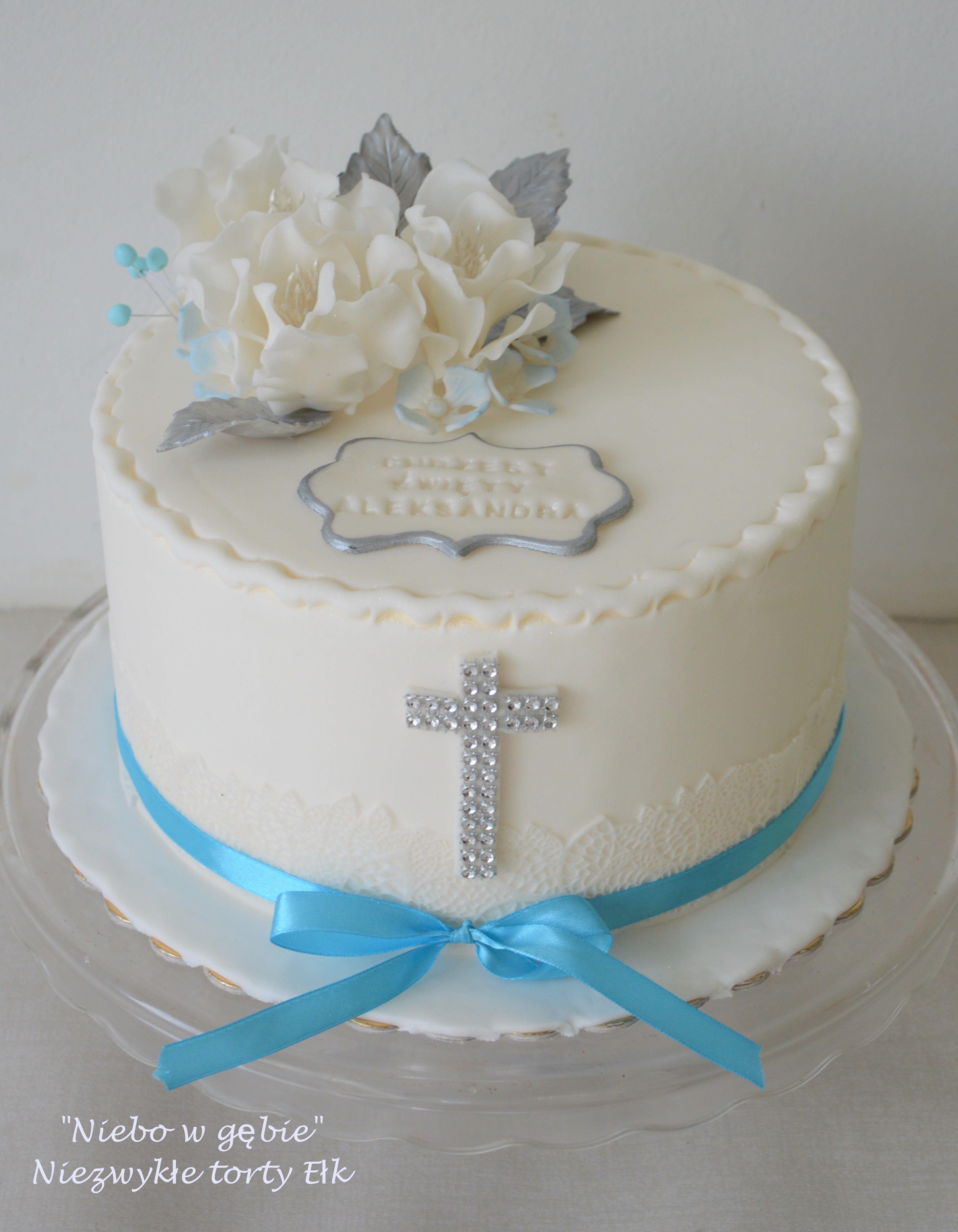 Tort Chrzest Kwiaty Cake Baptism Cake Desserts