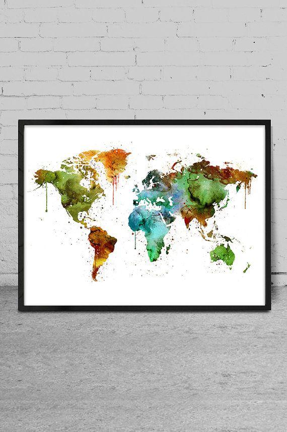 Watercolor art watercolor painting world map art by myvisualart watercolor art watercolor painting world map art by myvisualart gumiabroncs Gallery