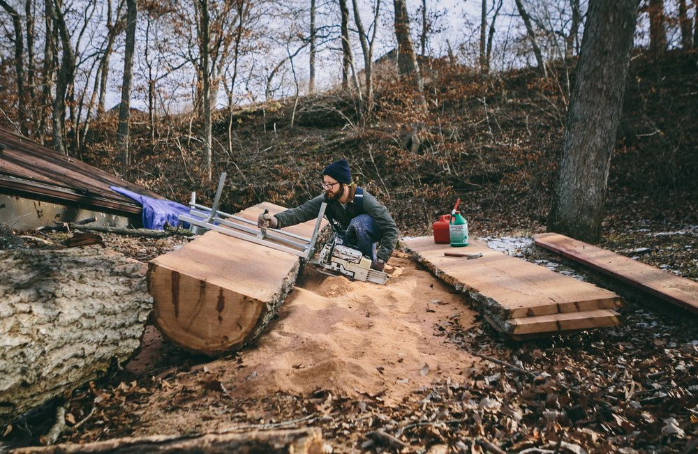 """adammagers: """" Slabbing a giant oak that died a while back. It has been reborn into lumber and will enjoy new life as furniture. Thanks to Chase Castor of www.kindlingco.tumblr.com for capturing the..."""