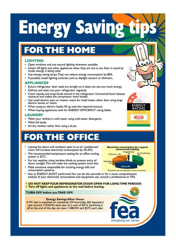 Energy saving tips for home and office. | Think Green | Pinterest ...