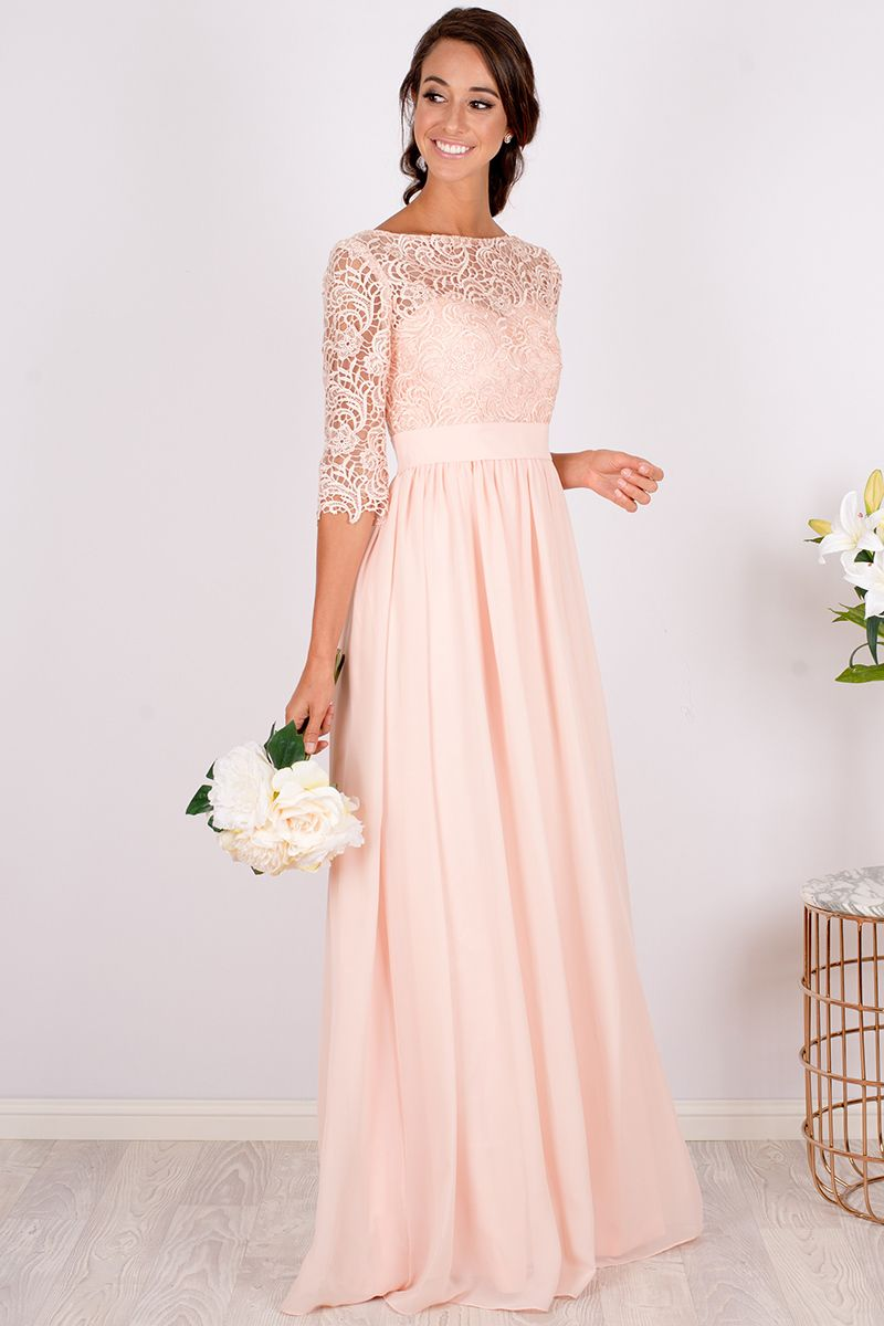 Anabella lace sleeved bridesmaid dress custom made in