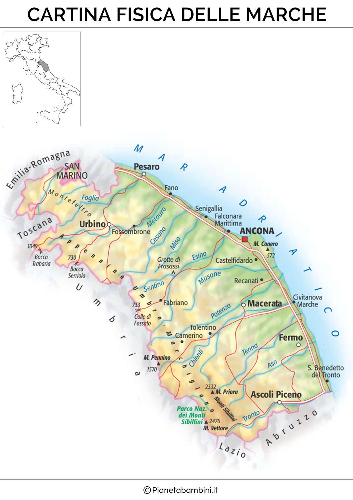 Cartina Fisica E Politica Delle Marche.Cartina Fisica Marche Mappe Mappa Geografia