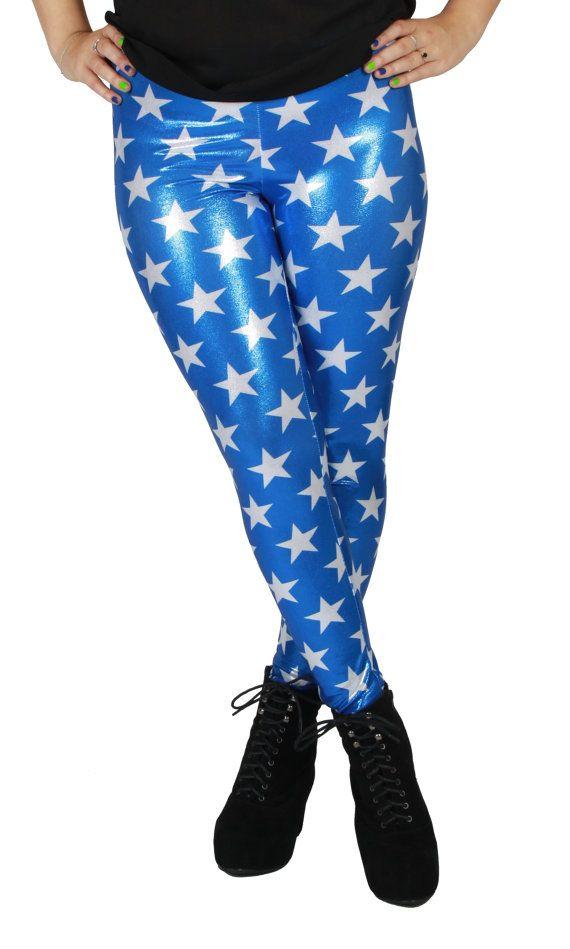 1aca9a248b0b89 Shiny Stars Spandex Leggings by GpopClothing on Etsy   Wonder Woman ...