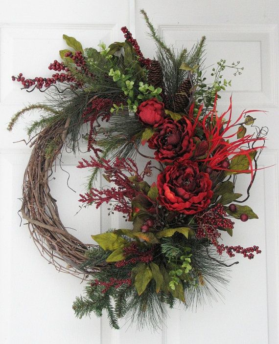 Winter Wreath Winter Bouquet Seasonal Wreath By SimpleJoysofLife · Winter  BouquetFront Door ...