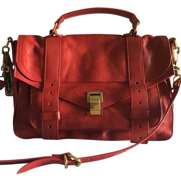 Pre-owned Proenza Schouler Crimson Leather Ps1 Medium Crimson Red... ($1,265) ❤ liked on Polyvore featuring bags, handbags, shoulder bags, crimson red, crossbody handbags, leather crossbody, leather crossbody handbags, red purse and red handbags