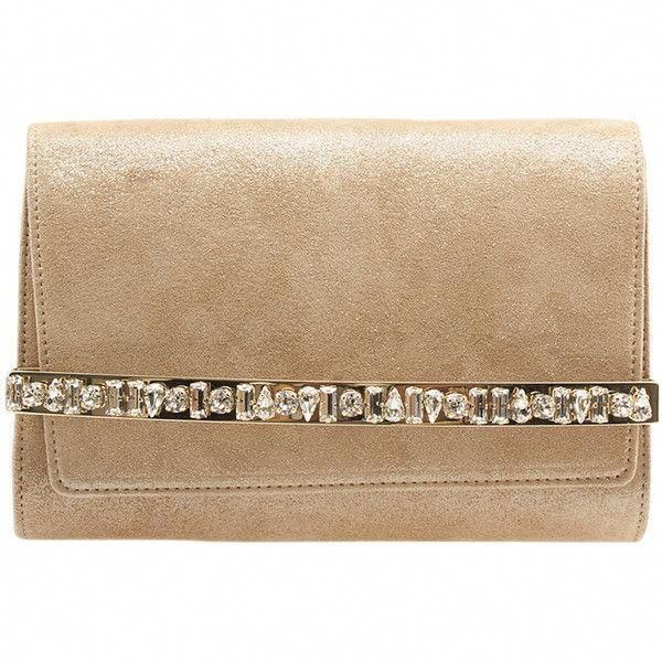 f3c52930f2 Pre-Owned Jimmy Choo Bow Crystal Bar Tan Suede Flap Clutch ($960) ❤ liked  on Polyvore featuring bags, handbags, clutches, tan, preowned handbags,  jimmy ...