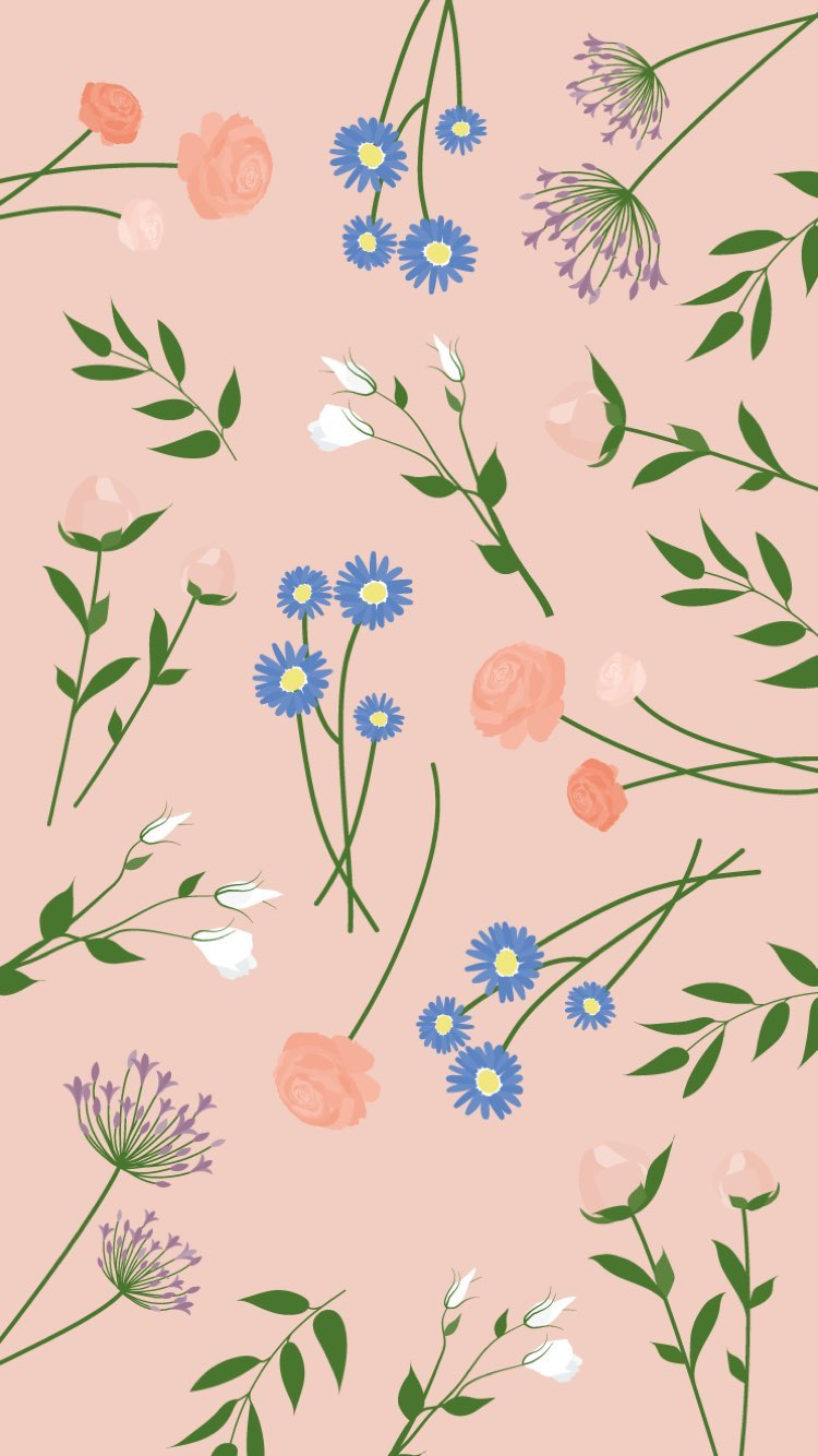 Pretty Floral Pattern Flower Background Wallpaper Bright