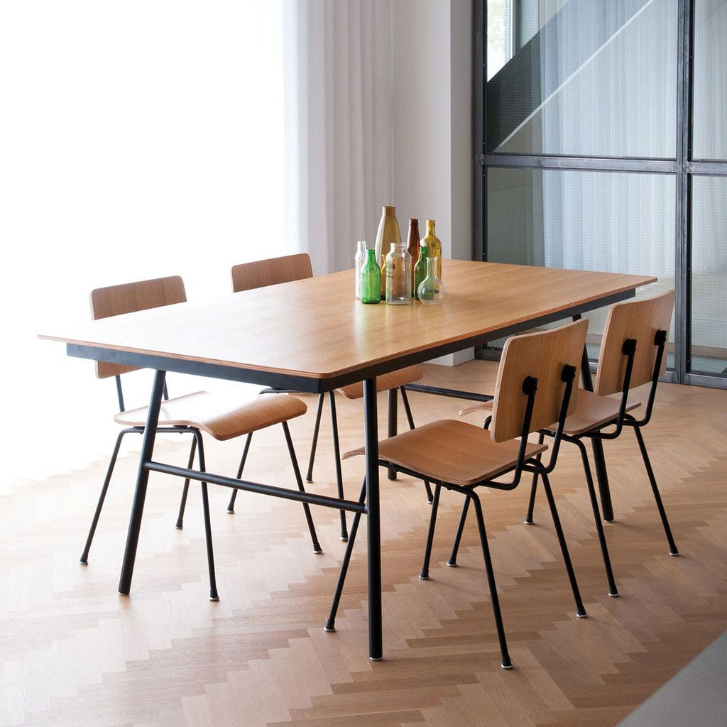 Gus Modern School Dining Table Available in walnut and natural oak