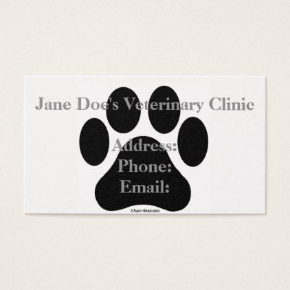 Black And White Paw Print Business Card Template Zazzle Com Printing Business Cards Business Card Template Card Template