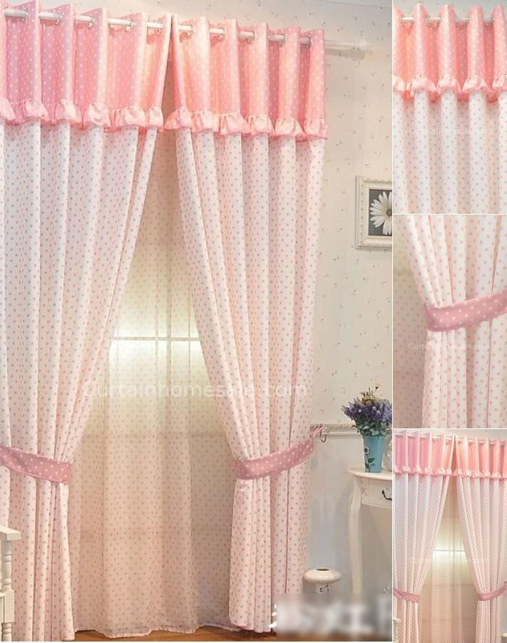 White and Pink Polka Dots Lace Rim Bedroom cheap curtains