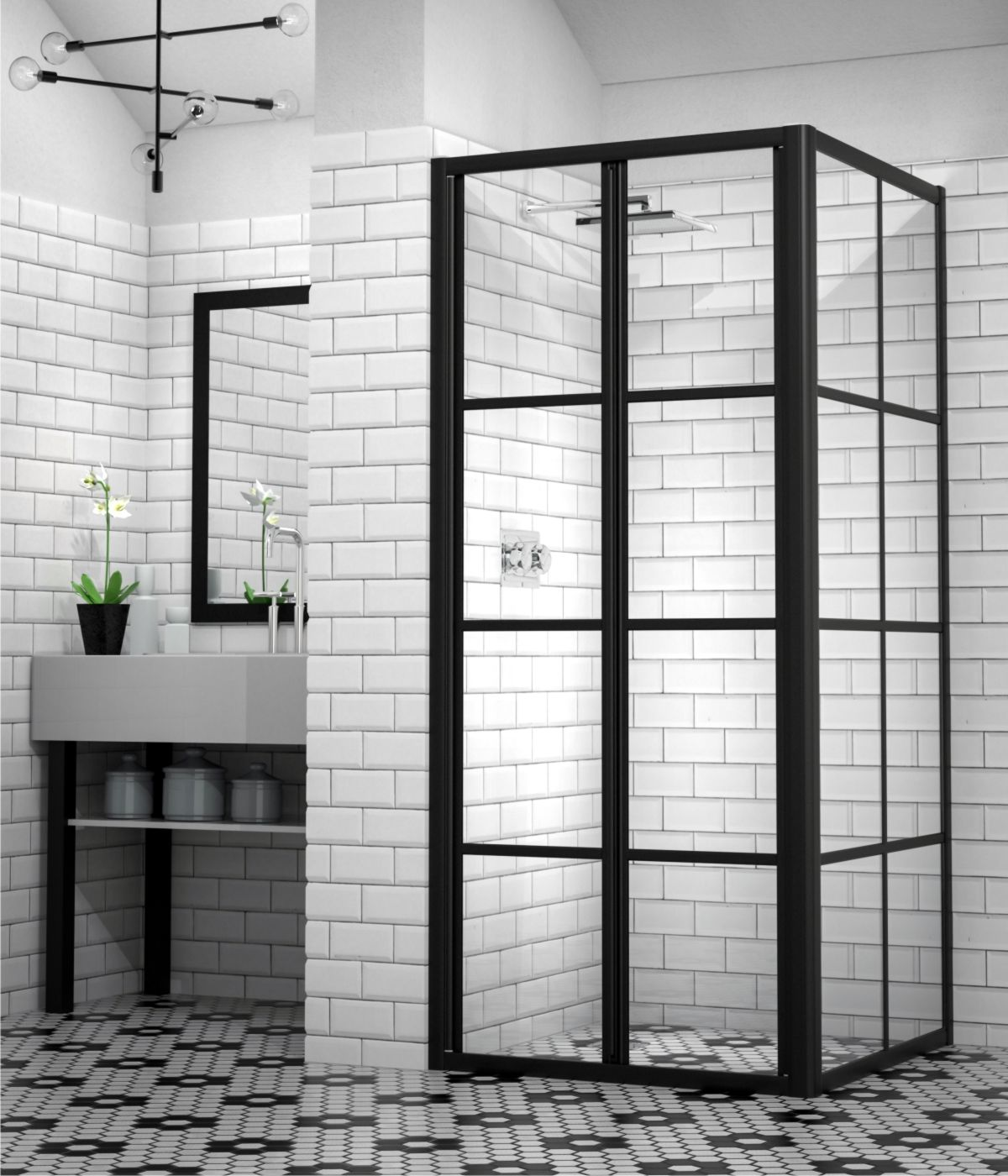 Showerline Black Framed Shower Door Black Shower Industrial Chic Black Shower Black Cottage Pane Shower Mirage Framed Shower Framed Shower Door Shower Doors