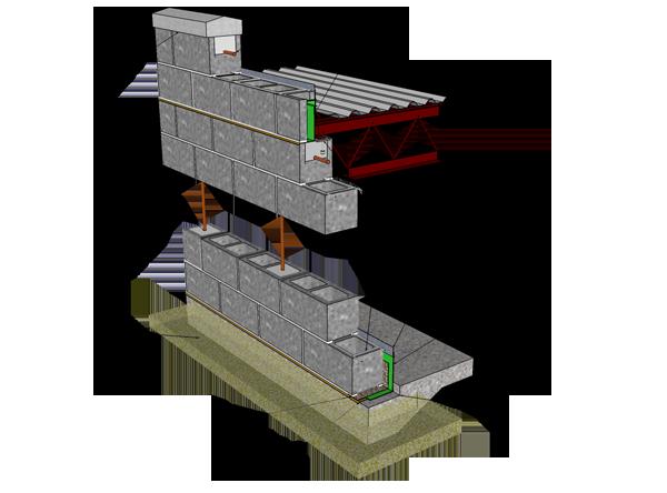 Single Wythe Reinforced Concrete Block Concrete Blocks Concrete Block Walls Reinforced Concrete