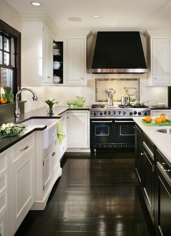 30 Spectacular White Kitchens With Dark Wood Floors ... on
