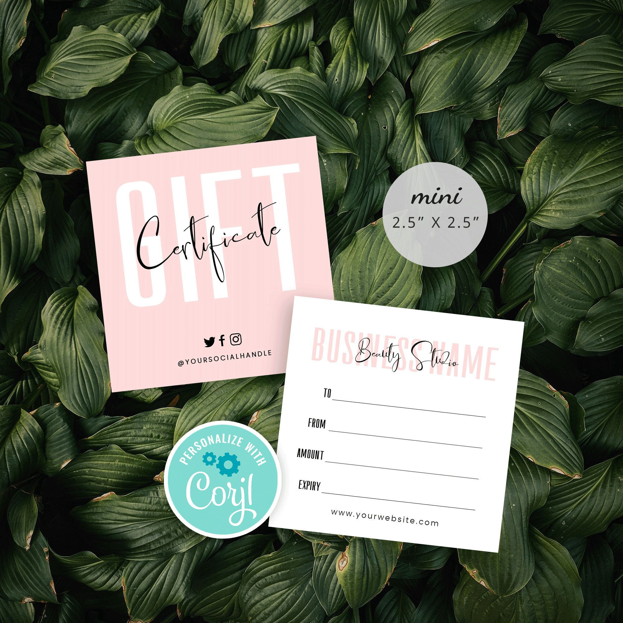 Mini Gift Certificate Template Editable Gift Vouchers Diy Etsy In 2020 Small Business Gifts Gift Certificate Template Diy Gift Card