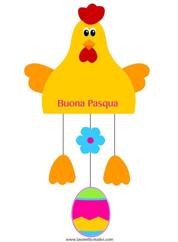 Addobbi di pasqua con la carta sagome utili per realizzare una gallina con l 39 uovo da attaccare - Decorazioni finestre aula ...