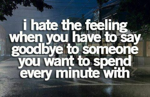 I hate the feeling when you have to say goodbye to someone couple