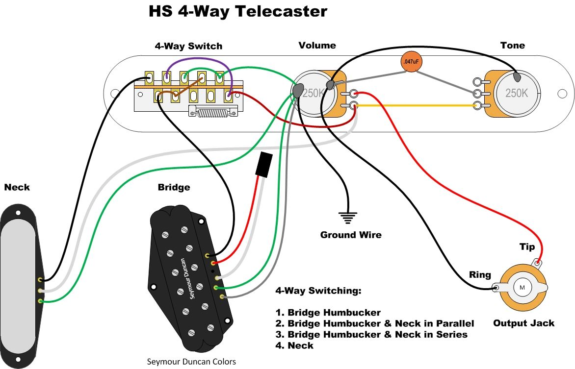 Hs 4 Way Tele Wire Series Parallel Guitar Diy
