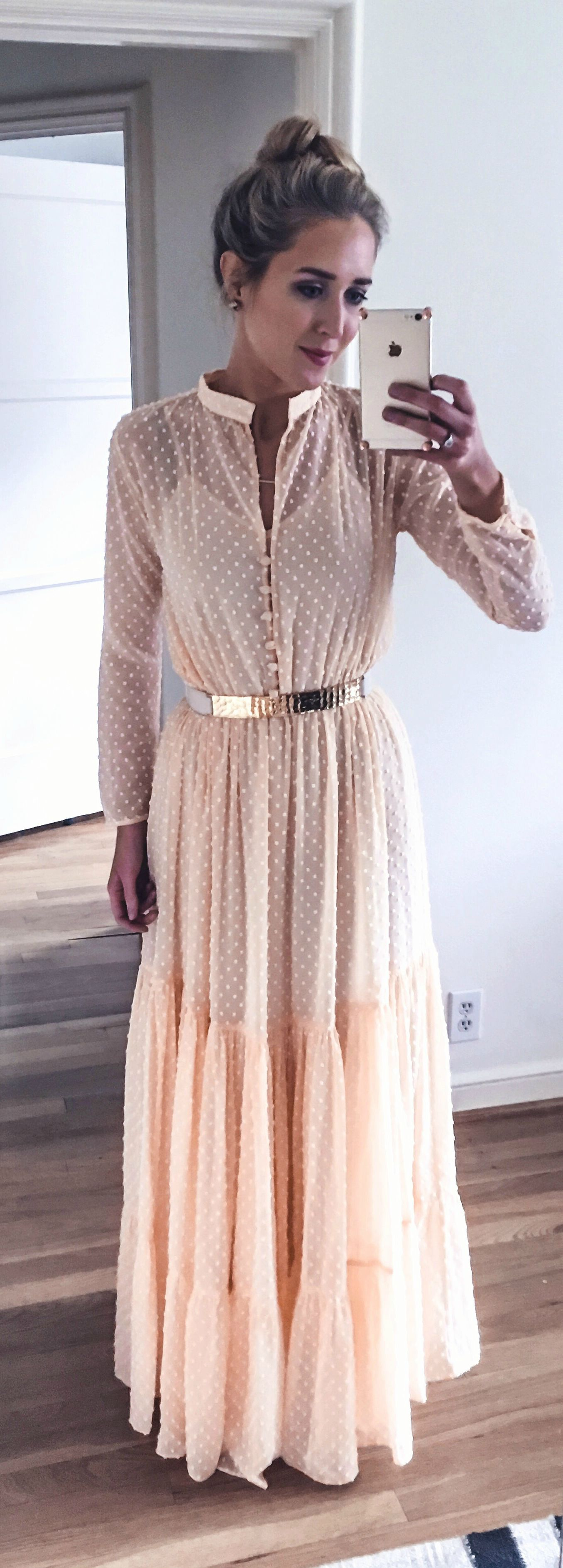 pale coral peach long sleeve maxi dress with subtle dots and