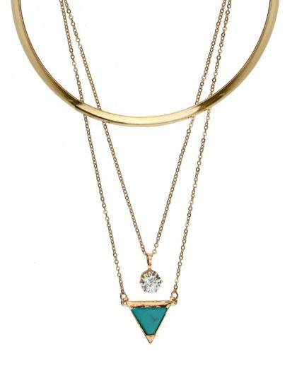 a8e99d704bc Kit gargantilha e colar duplo dourado pedra triângulo turquesa Agathe